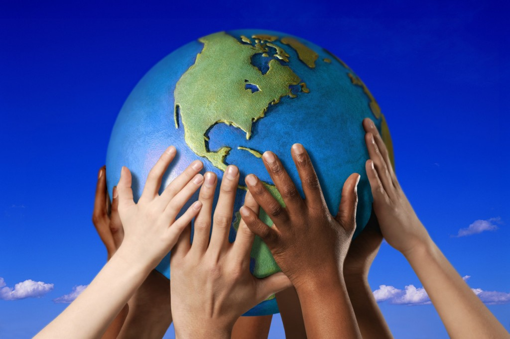Earth Day 2013 - Hands on a globe