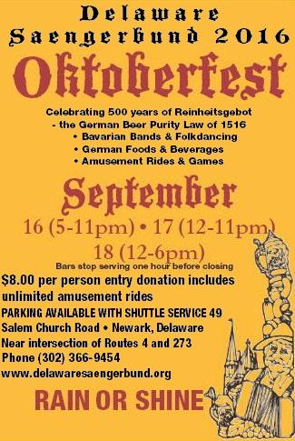 Delaware Saengerbund Oktoberfest 2016